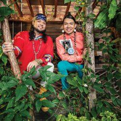 Anthony Johnson and Dr. James Makokis, greenhouse