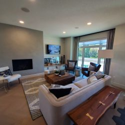 Light wood floors, grey carpet and couch, white walls, fireplace.