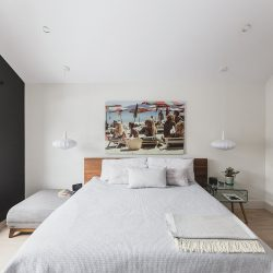 Bedroom_White_1BlackWall_WhiteBedding_MCMFurniture