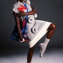 Model: Nyagoa (kicking), designs by Noah Milo