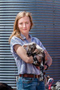 Charlotte Wasylik and goat