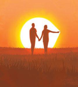 Couple_Silhouette_PokeSun_Orange