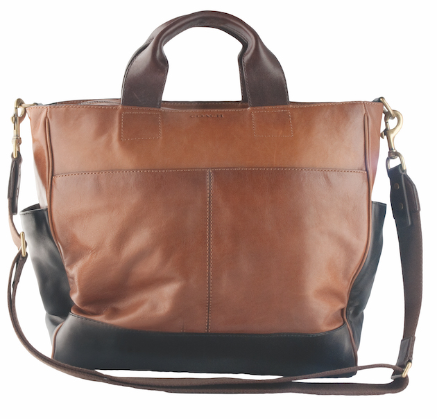The Bleecker Leather Colourblock Utility Tote ($568) by Coach makes the perfect travel case. (Southgate Centre, 780-435-0072, and West Edmonton Mall, 780-930-1473)