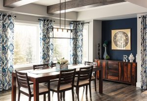Table and chairs Ethan Allan; drapery AMR Design, Brenda Brix.