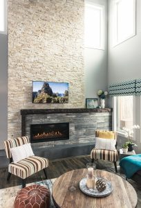 Sectional Urban Barn; coffee table Ideal Home Furnishings; tilePaylessFlooring; mantel Urban Timber; flooring Middleton Flooring Co; fireplace Fireplaces by Weiss-Johnson.