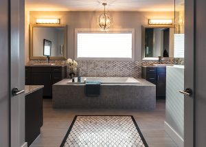 Tile Payless Flooring; tub, faucets, sink EMCO; cabinets Huntwood; lights Park Lighting; Mirrors Nerval