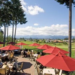 Timber Room Bar and Grill patio at Crown Isle on Vancouver Island