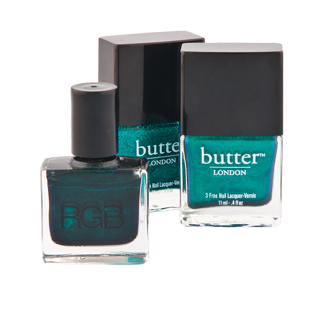 Nail lacquer in Thames, $17, nail lacquer in Henley Regatta, $17 each, both by Butter; nail lacquer in Sea by RGB, $17, all from Lux Beauty Boutique. (12521 102 Ave., 780-451-1423)