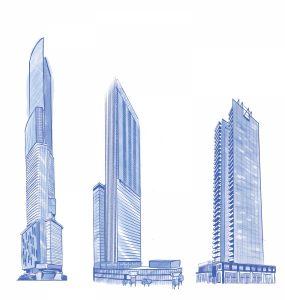 Alldritt Tower (80 storeys); Stantec Tower (66 storeys); Encore Tower (43 storeys)