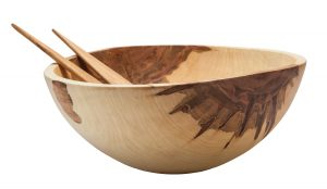 Stinson Studios salad bowl with serving utensils, $269.95, from Call the Kettle Black. (12523 102 Ave., 780-448-2861)