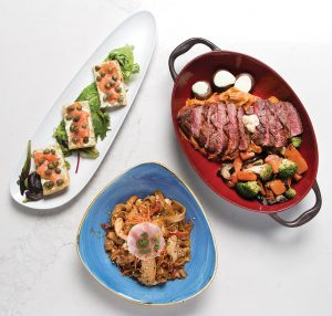 Smoked Salmon Pintxos, Steak Board and Pad Thai Roller