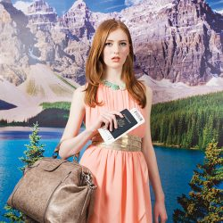 On Hannah: LnA dress, $105, Ada Gold belt, $79, from Shades of Grey Boutique; Matt + Nat bag, $225, from the Bamboo Ballroom; Britta necklace, $325, from Who Cares? Wear.
