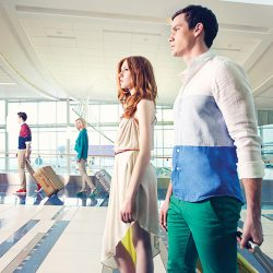 Foreground right, on Joey: Michael Kors shirt, $165, and Hugo Boss pants, $625, from Henry Singer; suitcase, $540, from the Bay at Southgate Centre.