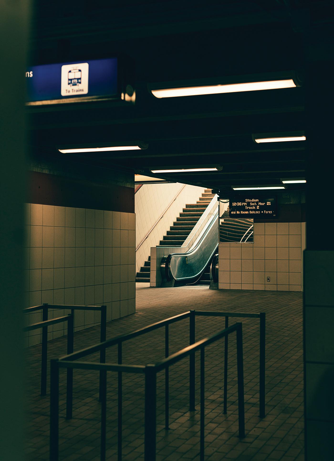 Stadium LRT station, escalator Edmonton