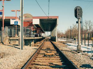 Tracks at Stadium LRT station, Edmonton