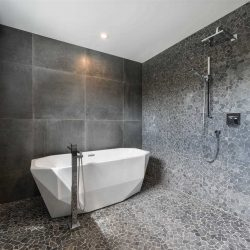Beautiful tiled shower with stand-alone tub