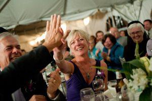 Wedding of Steve and Grace Poplawski, high-five