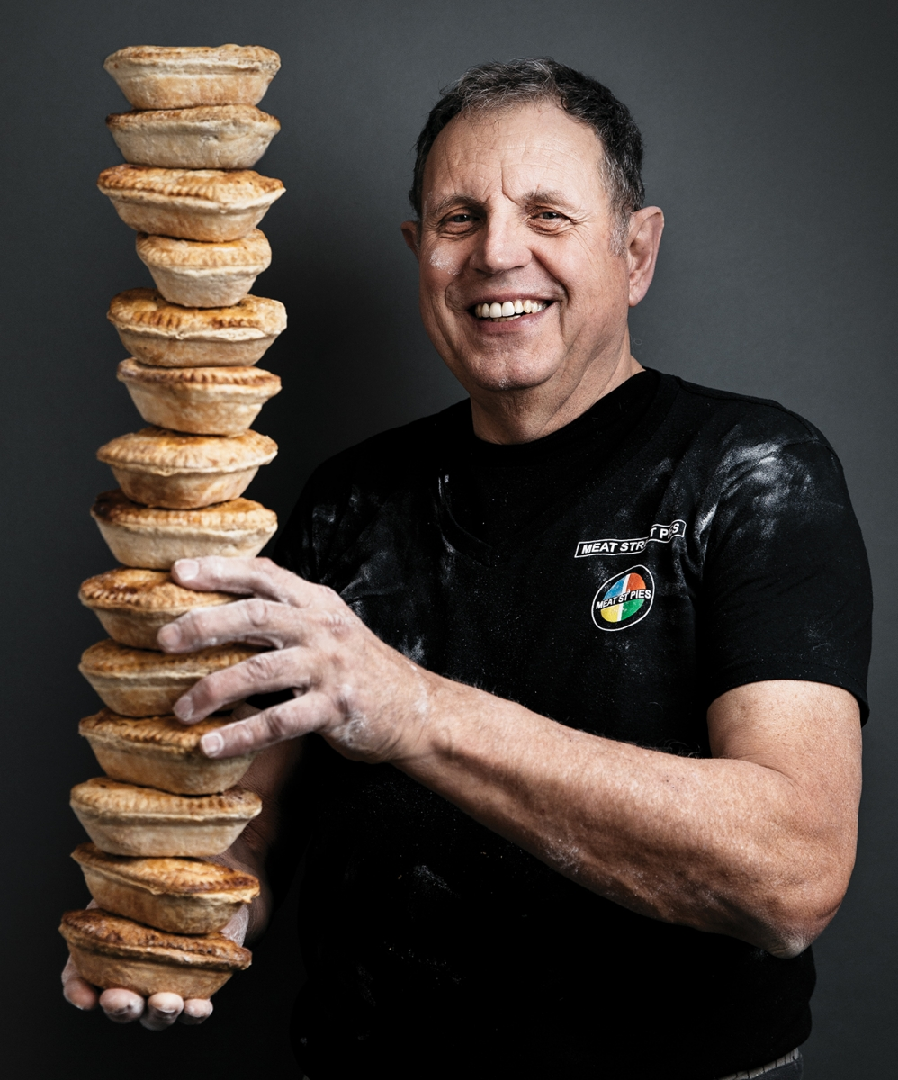 Jonathan Avis with meat pies