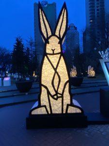 a sculpture of rabbit standing tall