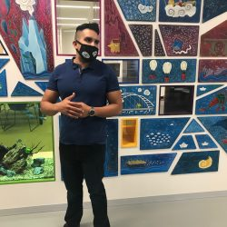 Artist Ricardo Copado at the Stanley A. Milner Library in Edmonton