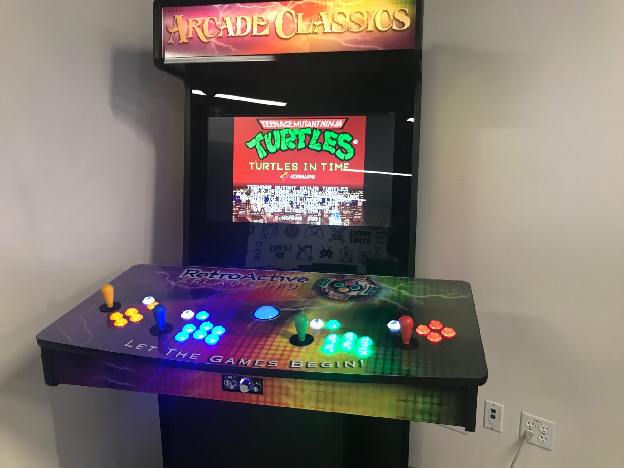 Vintage Teenage Mutant Ninja Turtles games at the GamerSpace at the Stanley A, Milner Library, Edmonton,