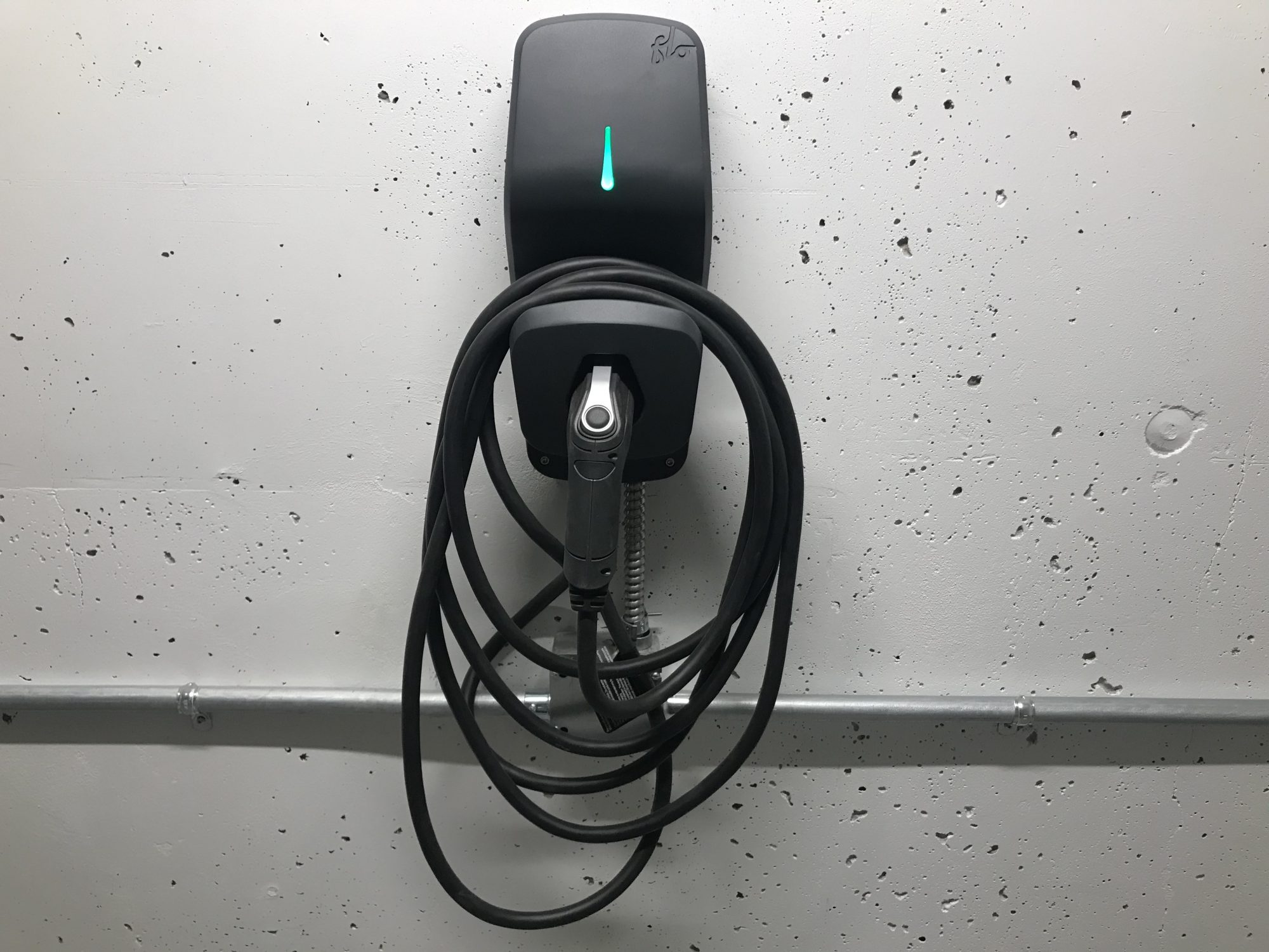 Select underground parking stalls have electric chargers