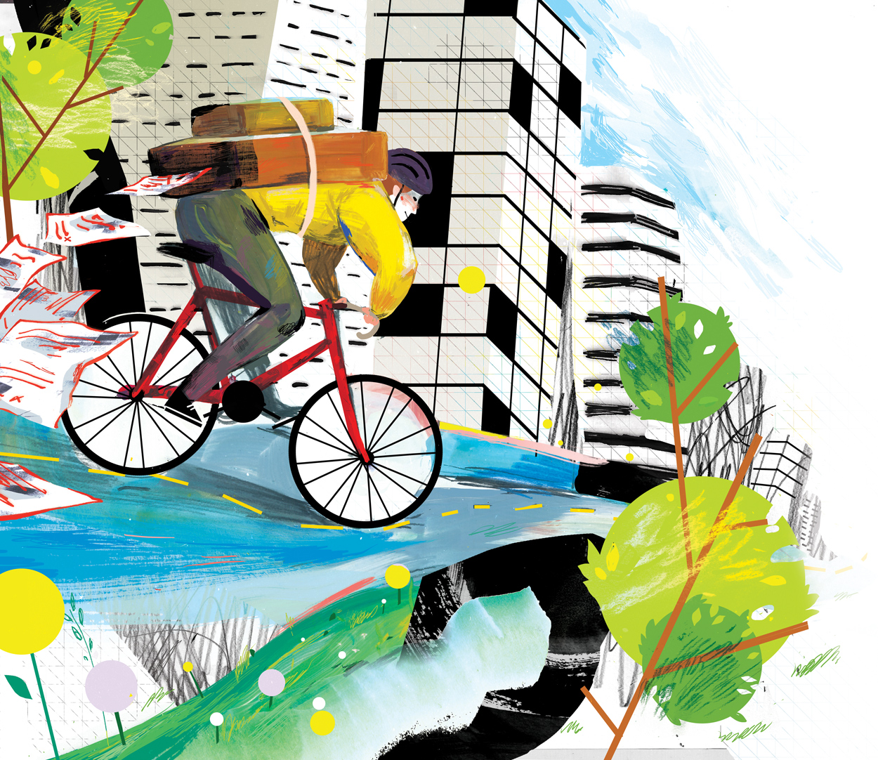 Illustration of bike messenger riding through town with papers flying out of their backpack
