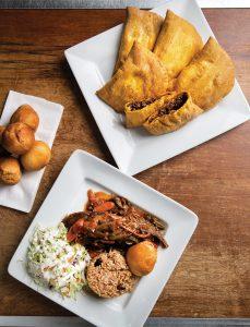 Jerk chicken, patties and dumplings