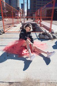 Model with Air Jordan shoes