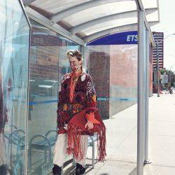 Model at bus stop