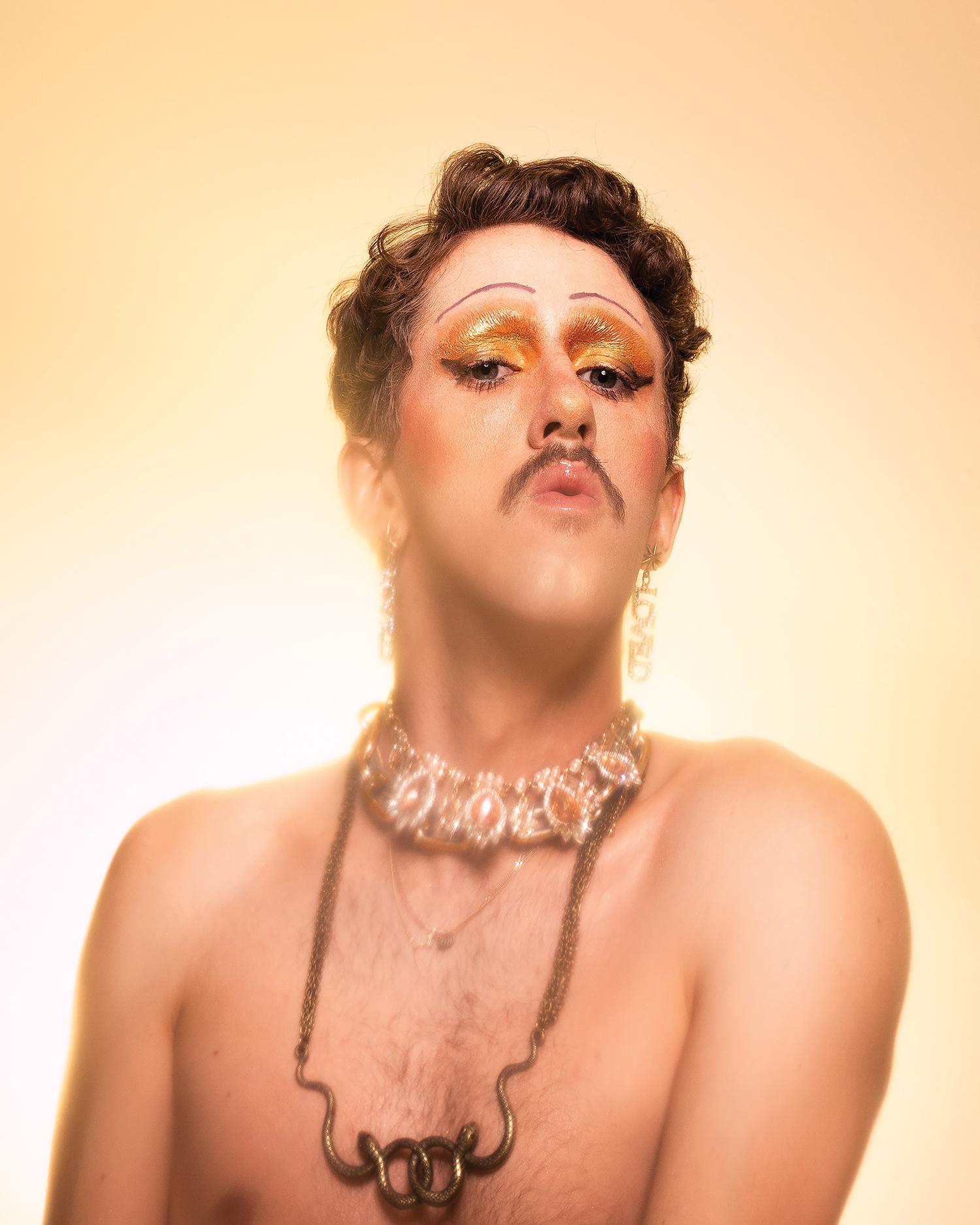 MackenzieLiam_Drag_SparklyGoldEyeshadow_moustache_jewellery