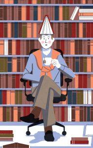 ManSitting_DrinkingTea_Library_DunceHat_Illo