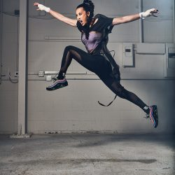 Olivia Cheng leaping