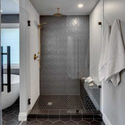 En suite bathroom, white wall, black penny tile floor; glass door shower with two white walls, one grey textured wall, black penny tile floor