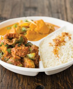Tiffin, plate of butter chicken