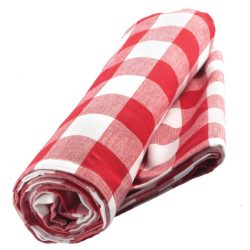 Now Designs' red-check tablecloth is $35 at Zocalo Gallery Inc. (10826 95 St., 780-428-0754)