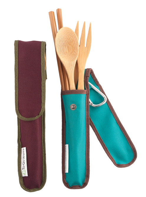 To-Go Ware says its bamboo utensil sets ($16.95 each) will help you