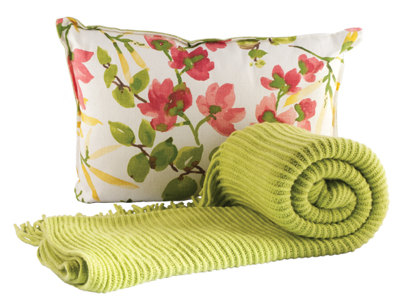 The green throw by cobistyle ($60) and pillow by Rosemary & Time ($82.50) are available at Beautiful Home & Gift Inc. (The Enjoy Centre, 101 Riel Dr., St. Albert, 780-651-7372)