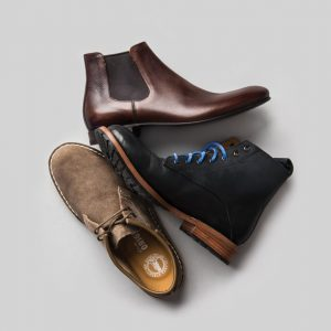 Clarks shoes, $140, from gravitypope; Prada boots, $895, from Henry Singer; Unmarked boots, $350, from Ego-Trip.