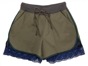 Sacai Luck running shorts with lace underlayer, $470, from Coup {Garment Boutique}. (10180 102 St., 780-756-4388)