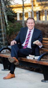 Dave Mowat enjoys salad rolls
