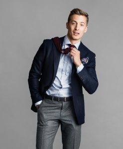 Offal Goods pocket square, $20, from Barber Ha; Canali trousers, $395, from Henry Singer, Canali jacket, $1,495, from Henry Singer; Ermenegildo Zegna shirt, $375, Henry Singer.