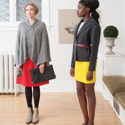 Left, on Autumn: Maison Martin Margiela sweater, $855, Sofie D'Hoore skirt, $595, and Acne Studios Stockholm boots, $570, from gravitypope Tailored Goods; Equipment Femme t-shirt, $290, from Coup {Garment Boutique}; The Katelin purse by Kimder, $280, from The Bamboo Ballroom.  Right, on Ruke: Equipment Femme t-shirt, $300, from Coup {Garment Boutique}; Cedric Charlier jacket, $1,350, and skirt, $675, Peter Jensen belt, $110, Acne Studios Stockholm shoes, $430, from gravitypope Tailored Goods.  Painting: