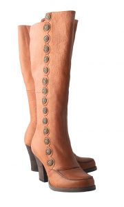 Toby brown buttons boots by Miz Mooz, $295, from Wener Shoes. (10322 Jasper Ave., 780-422-2718).