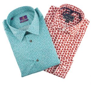 Liberty of London dress shirt, left, $255, from Henry Singer. (10180 101 St., Manulife Place, 780-423-6868) and Orian shirt, $225, The Helm. (10125 104 St., 780-425-4344)