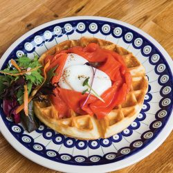 Savoury Waffle with Lox and Poached Egg at Under the High Wheel
