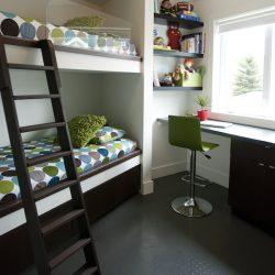 Bunk beds and desk from Sheri Krug of Sheri Krug  designs, built by Robert Hoiland of Hoiland Custom Renovations