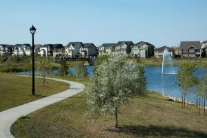 The priciest Griesbach homes back out onto a man-made lake